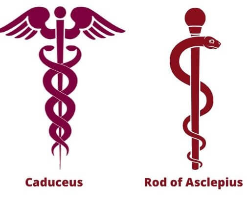 Caduceus and rod of asclepius