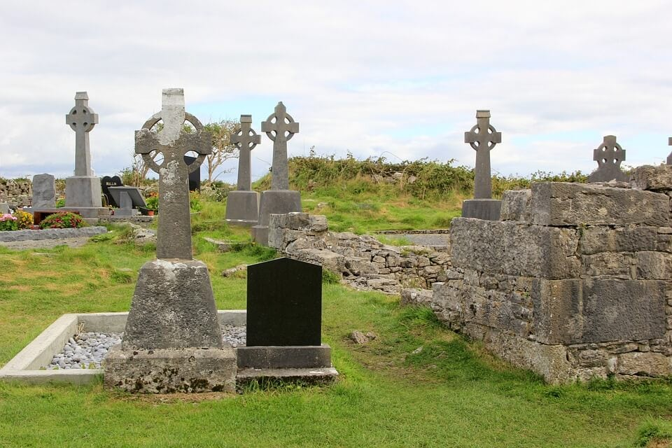 Celtic cross in graveyard