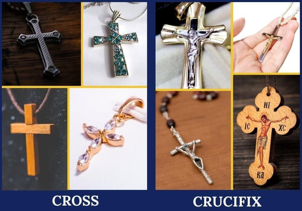 Cross vs crucifix symbols