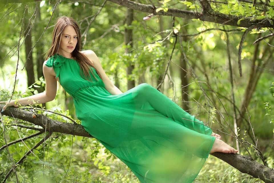 Girl wearing green dress
