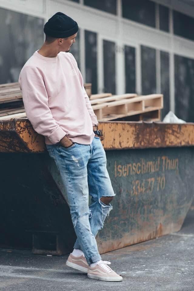 Man wearing pink t-shirt