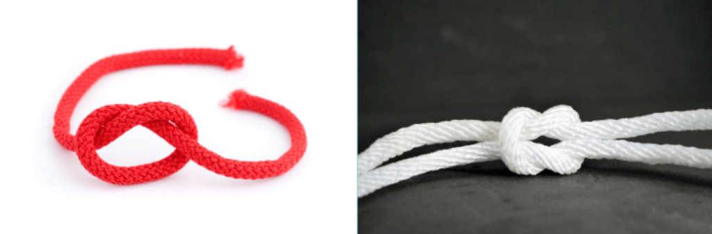 Overhand vs true lover's knot styles side by side
