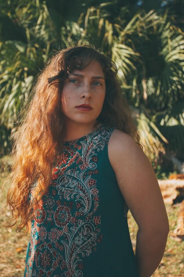 Girl wearing paisley design