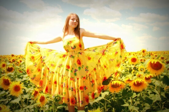 Girl wearing yellow color dress