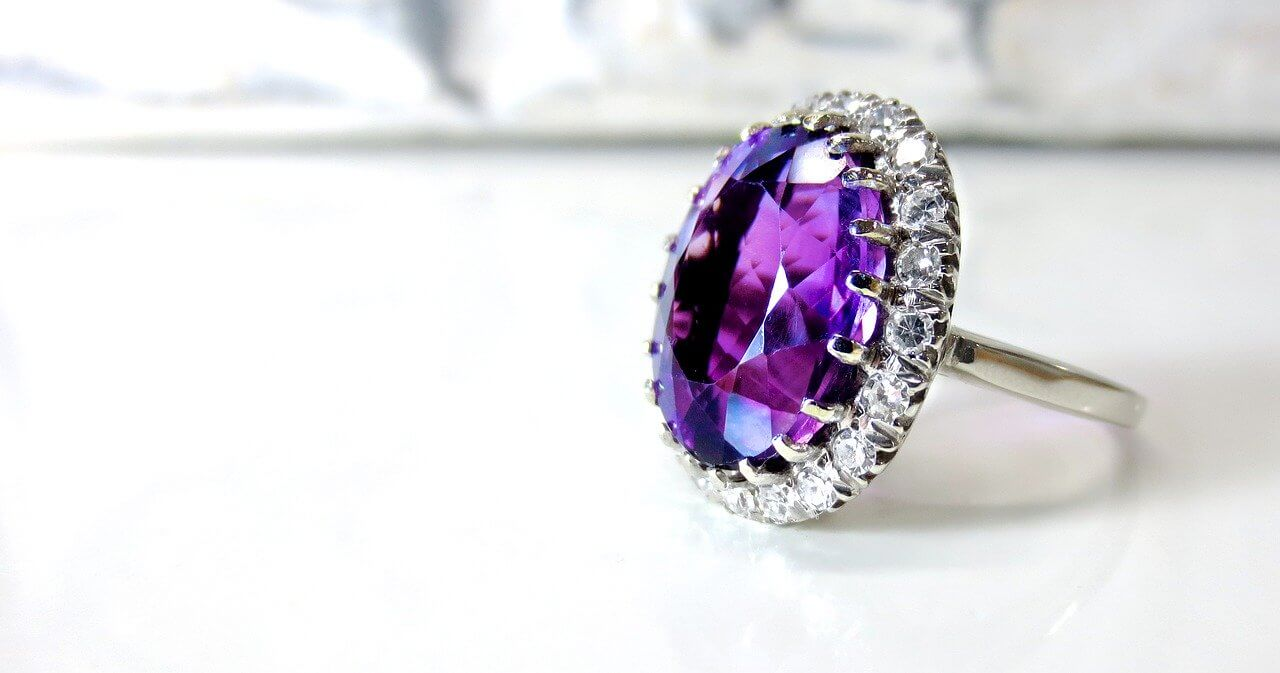 purple color jewelry ring