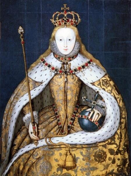 Queen Elizabeth holding globus cruciger