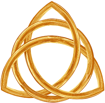 Trinity knot symbol in gold color