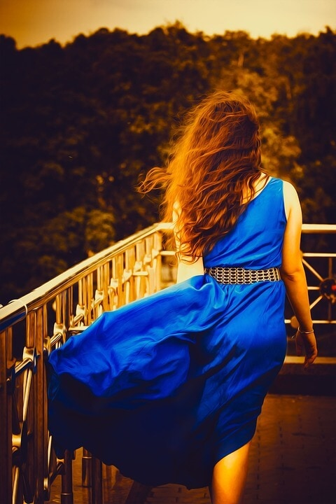 Girl wearing blue dress