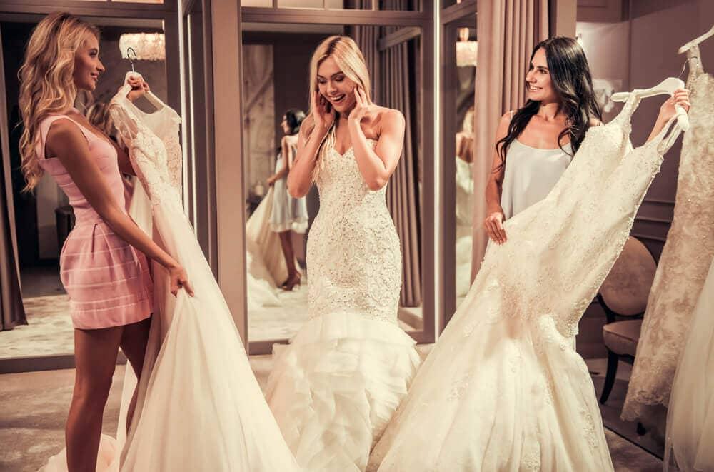 checking wedding dress