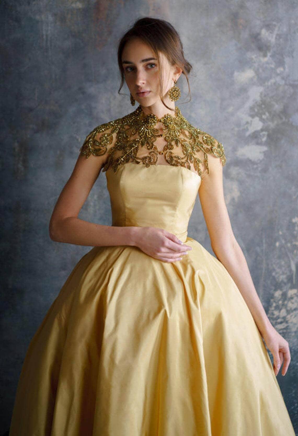 Girl wearing gold wedding dress