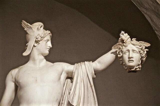 Perseus holding medusa head