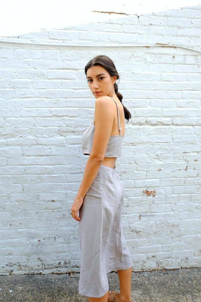 Girl wearing gray dress