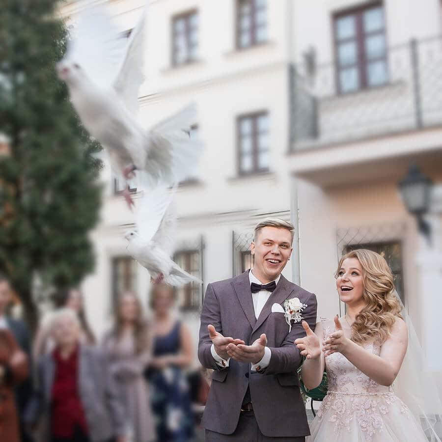 Releasing doves in wedding