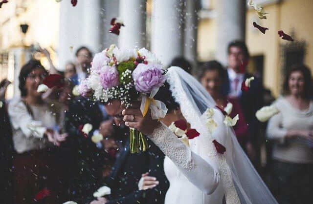 Rice throwing wedding
