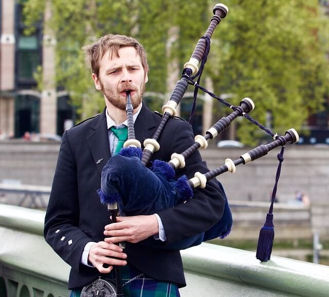 Man playing bagpipes