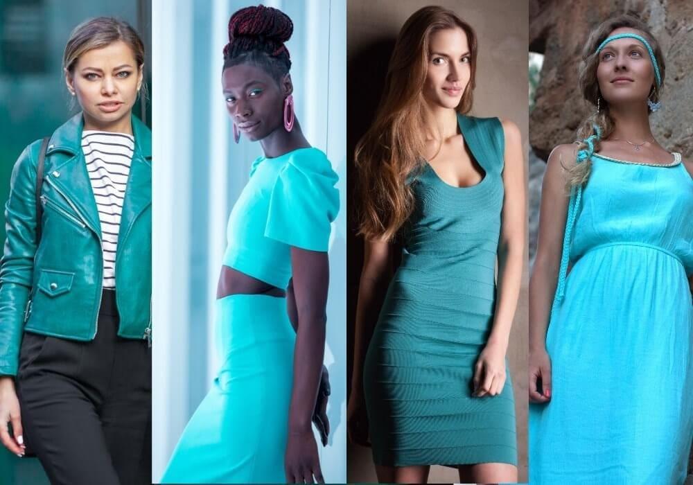 Women wearing turquoise dress