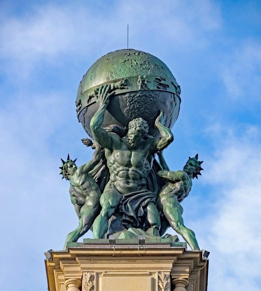 Atlas bearing the world