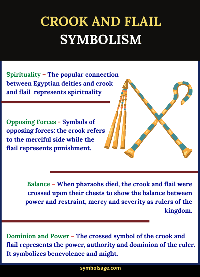 Symbolism and meaning of crook and flail