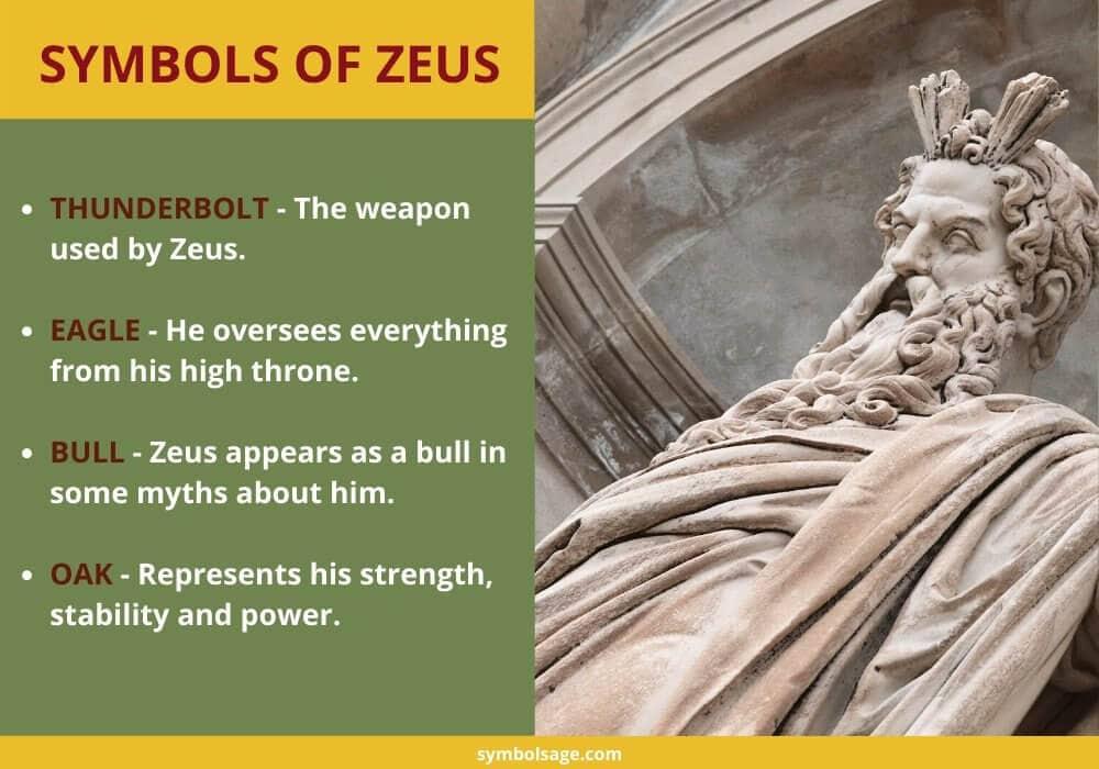 Symbols of Zeus Greek mythology