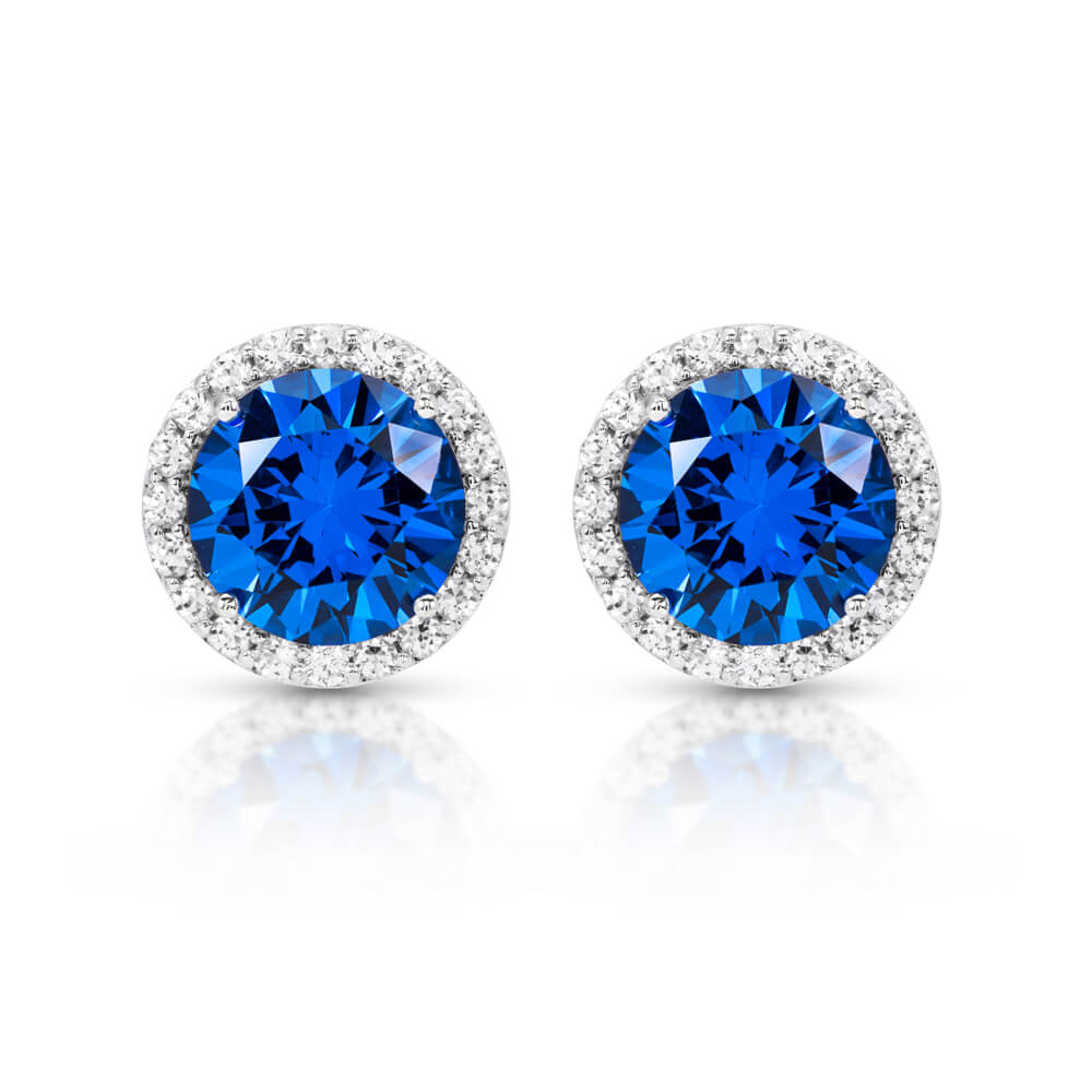 sapphire stud earrings blue diamond