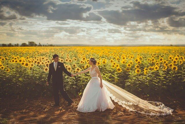 Couple in a sunflowers field