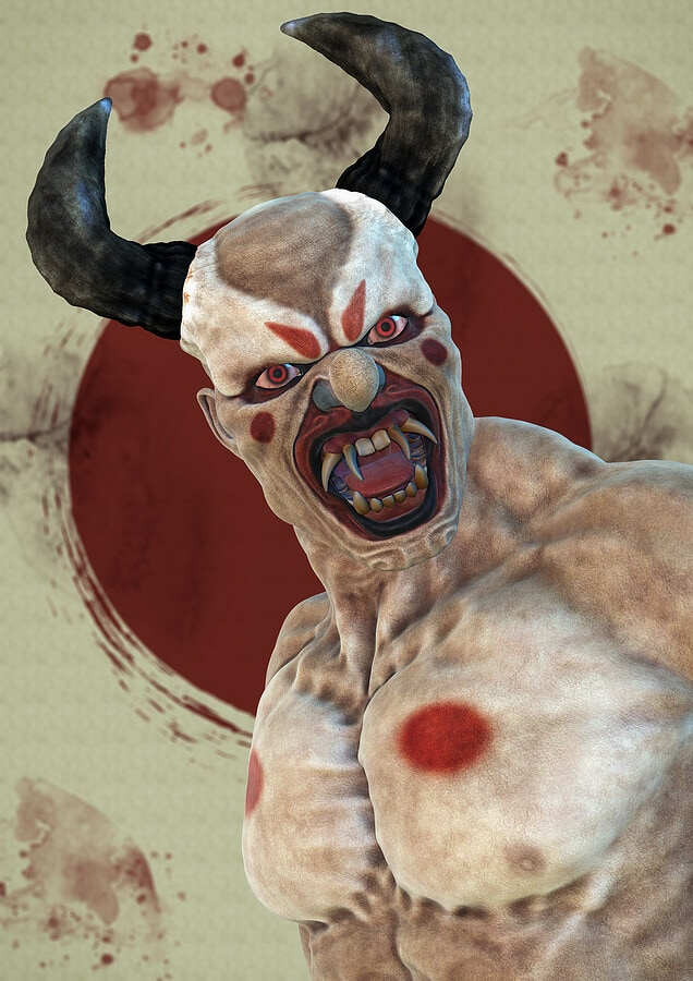 Portrait of Japanese oni