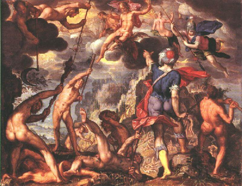 Battle between gods and titans