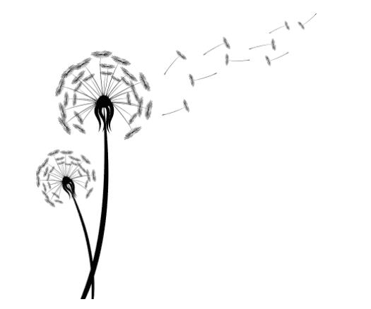 Blowing dandelion tattoo