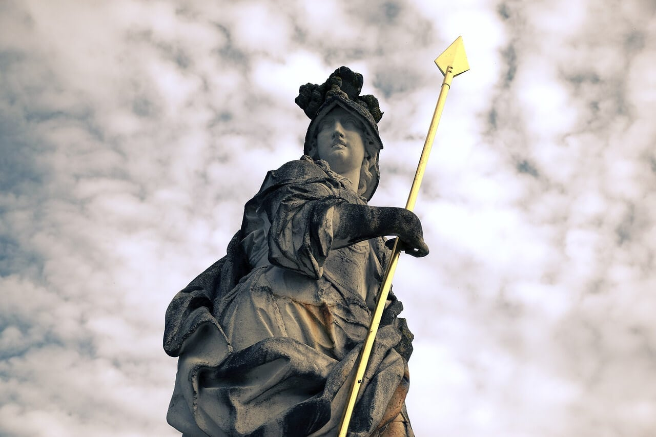 Minerva statue with spear