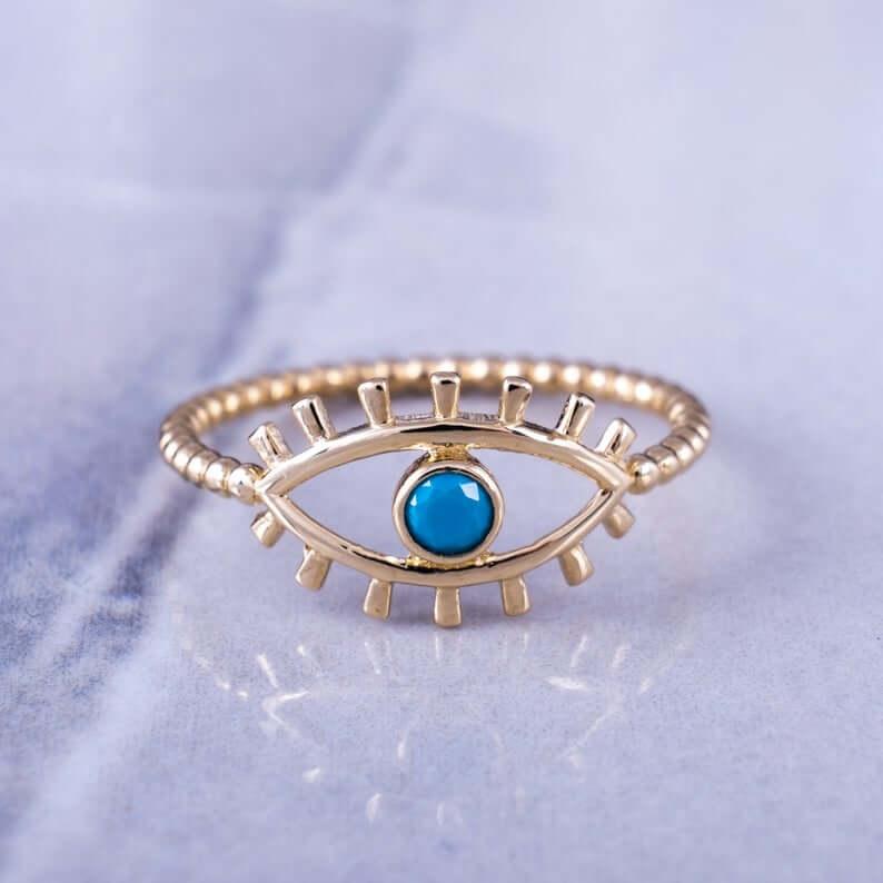 Evil eye boho ring