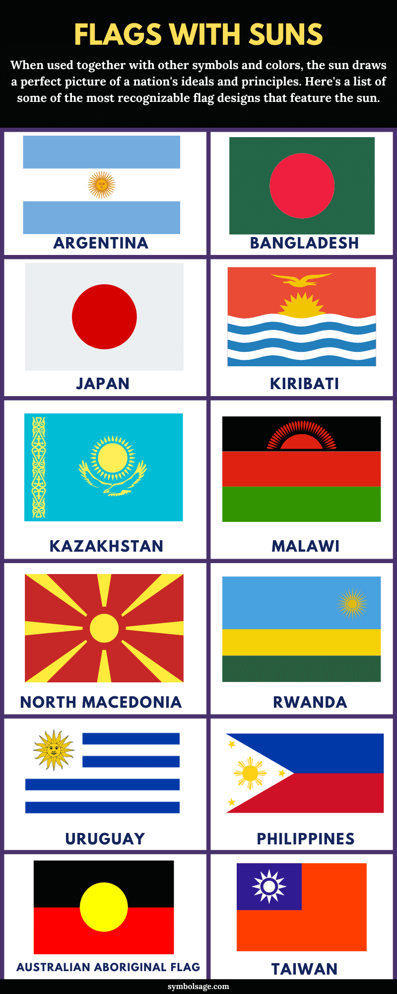 Flags with suns