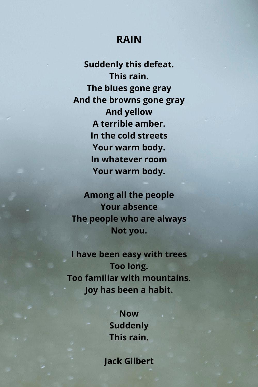 Suddenly this rain poem