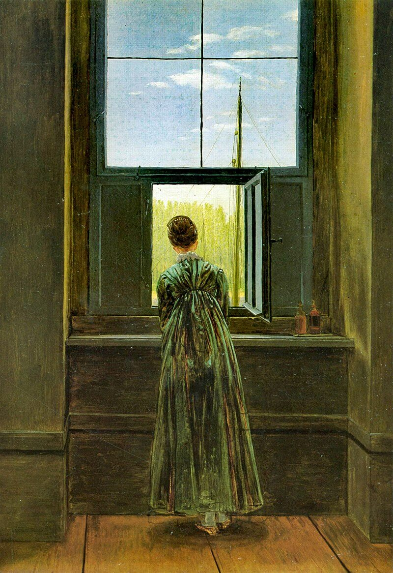 Woman at window art