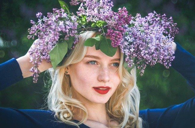 Girl wearing flower crown