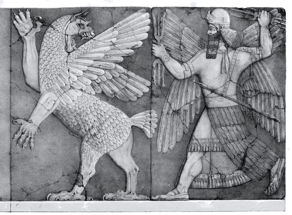 Marduk battling Tiamat