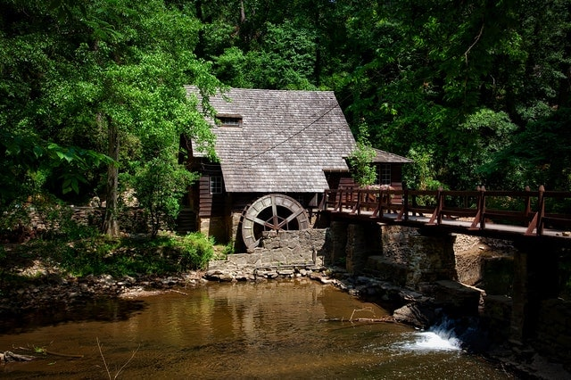 old house with watermill