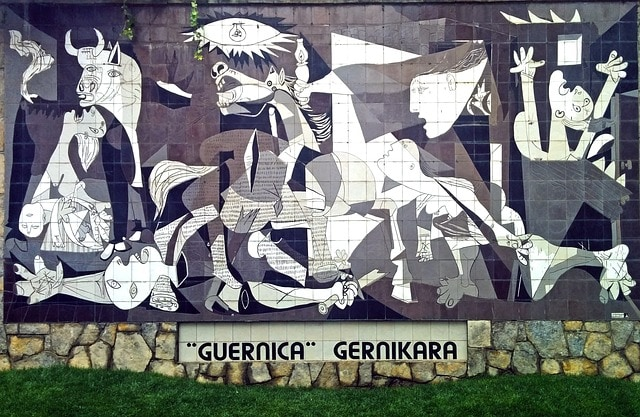 Reproduction of Guernica with mosaic tiles