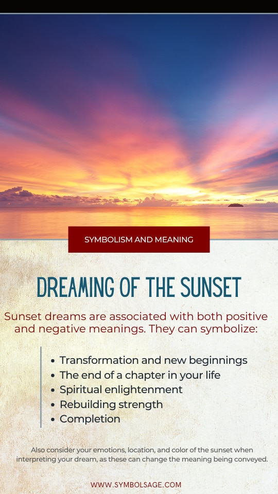 Sunset dreams meaning