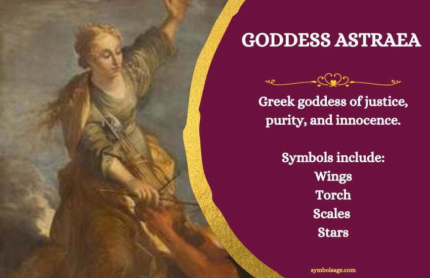 Symbols of Astraea Greek goddess