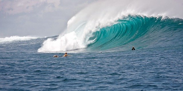 swimming in big waves